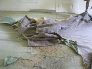 Living Room carpet removed. The green pad turned to dust.